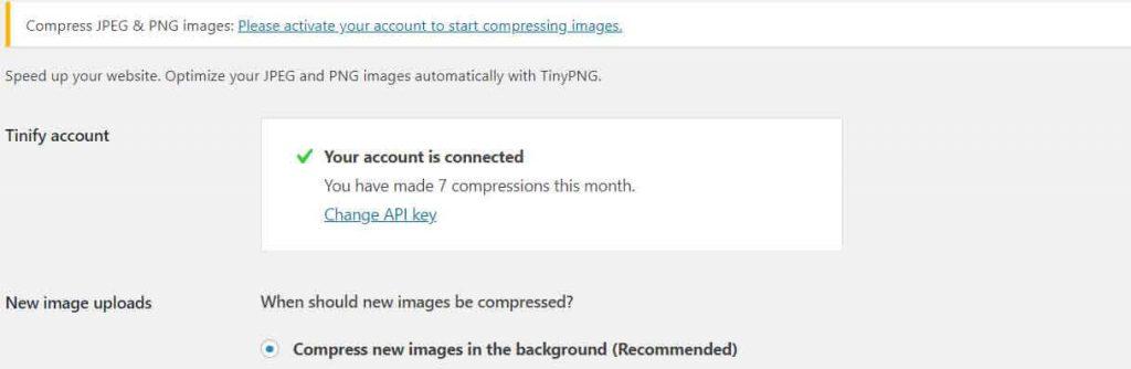 tinypngアカウント有効化後の表示