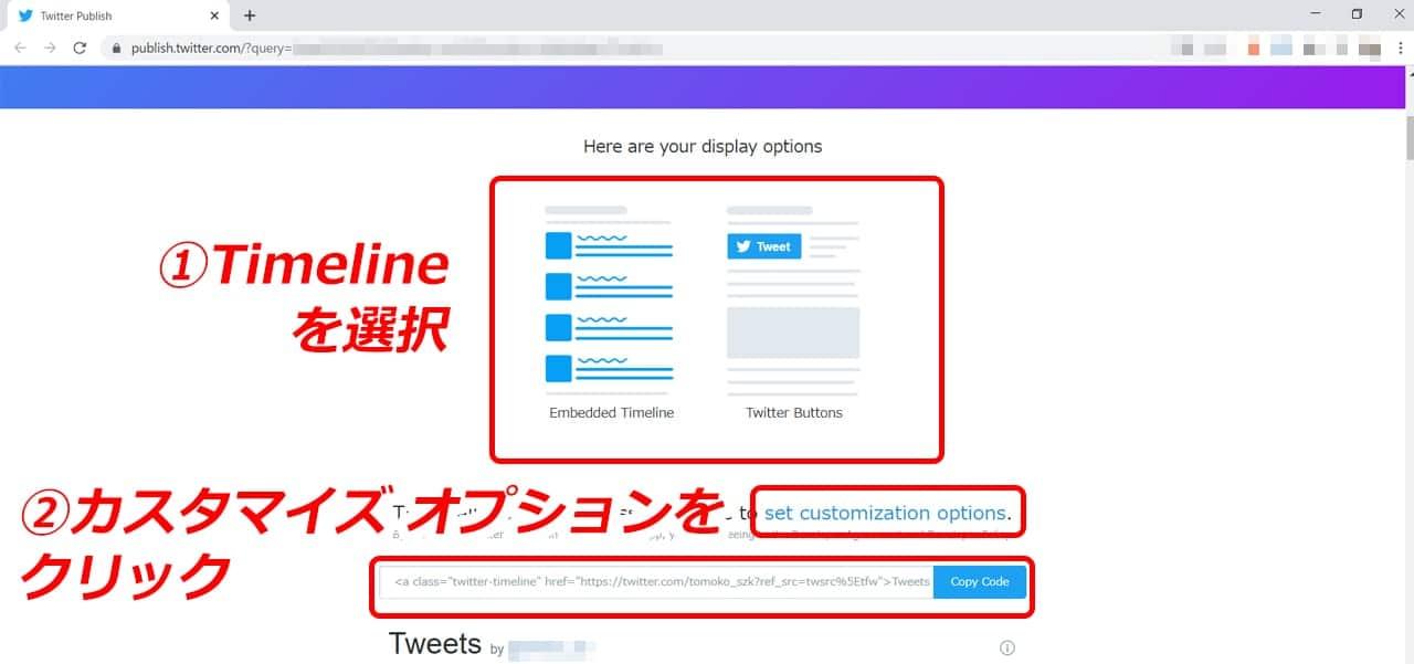 Twitter timelineを選択してオプションを設定する
