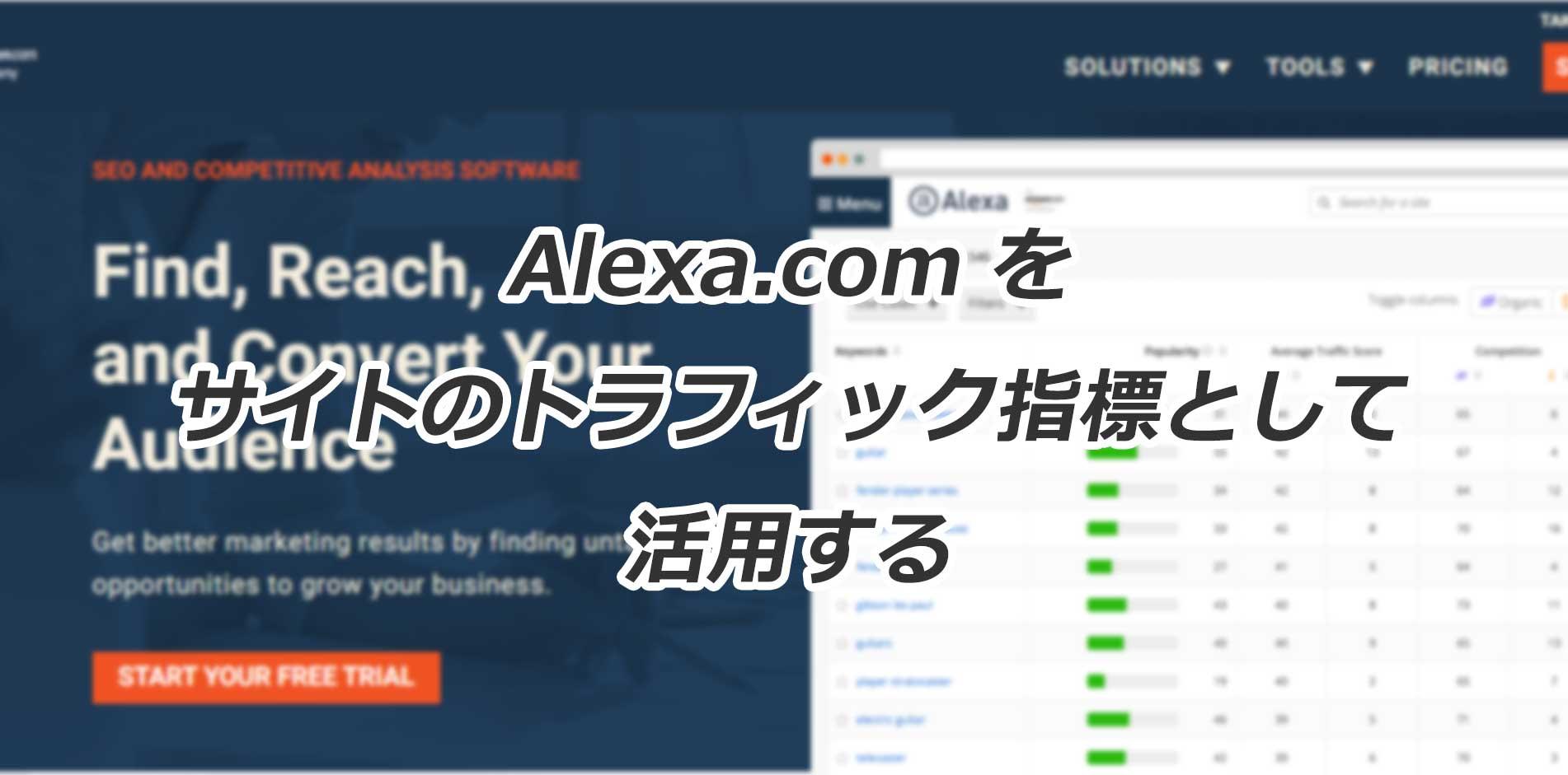 トラフィック指標をAlexa.comで確認する