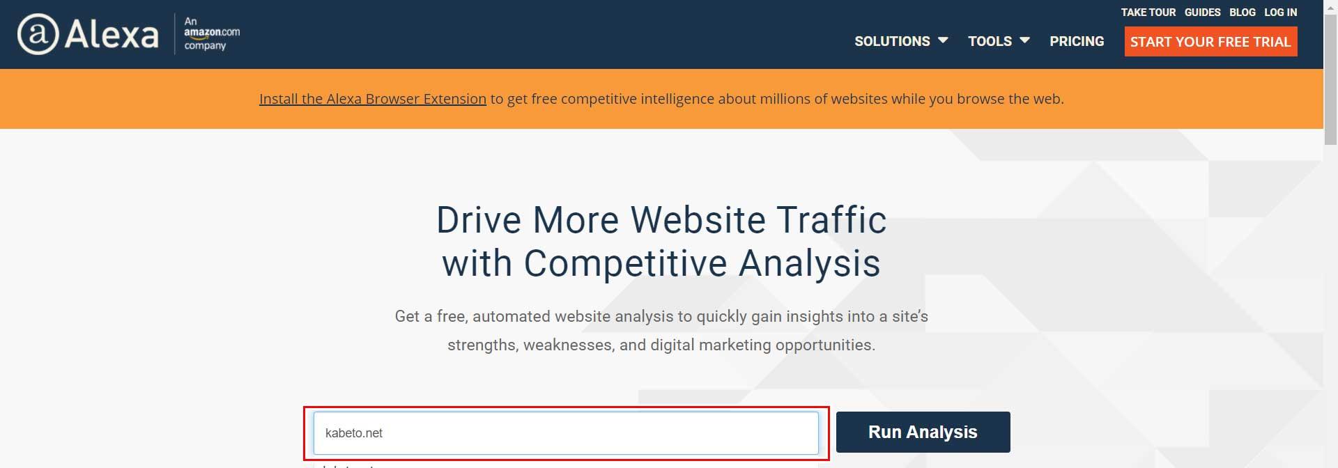 alexa traffic statisticsツール