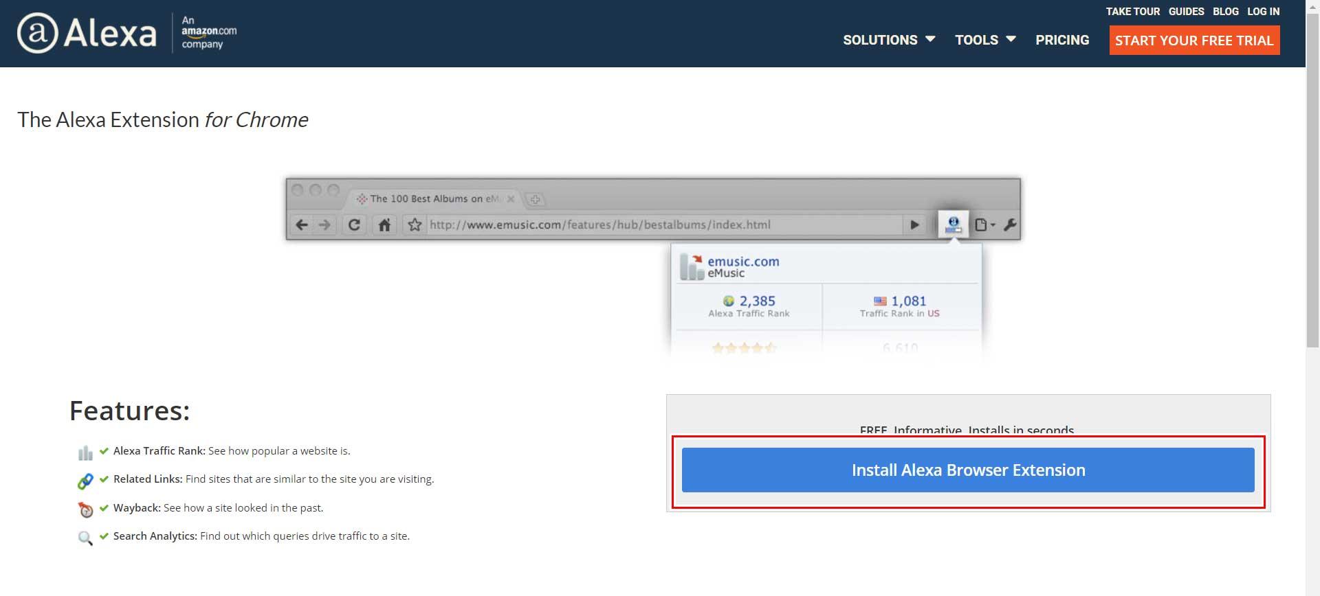 Alexa Toolbar 拡張機能ダウンロードページ