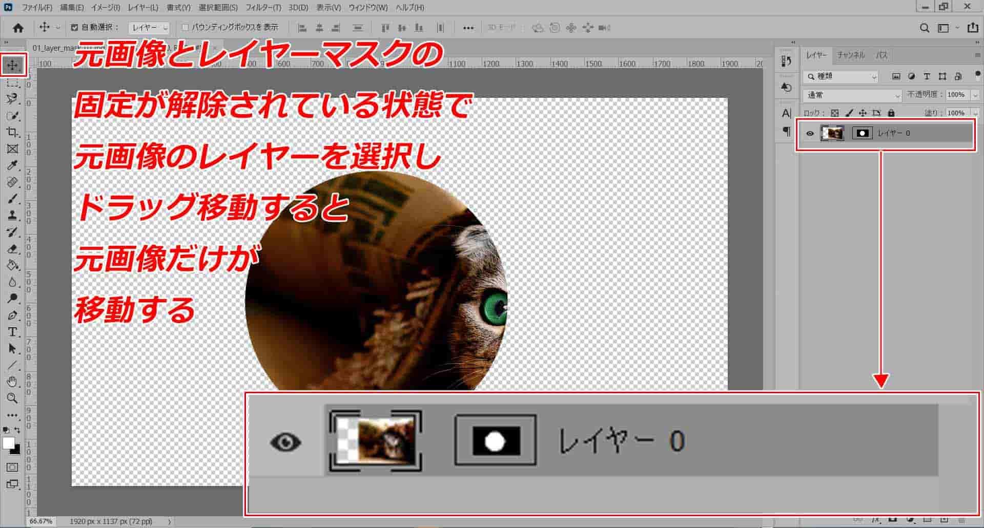 レイヤーマスクと元画像レイヤーが固定されていない状態で元画像レイヤーをドラッグ移動する
