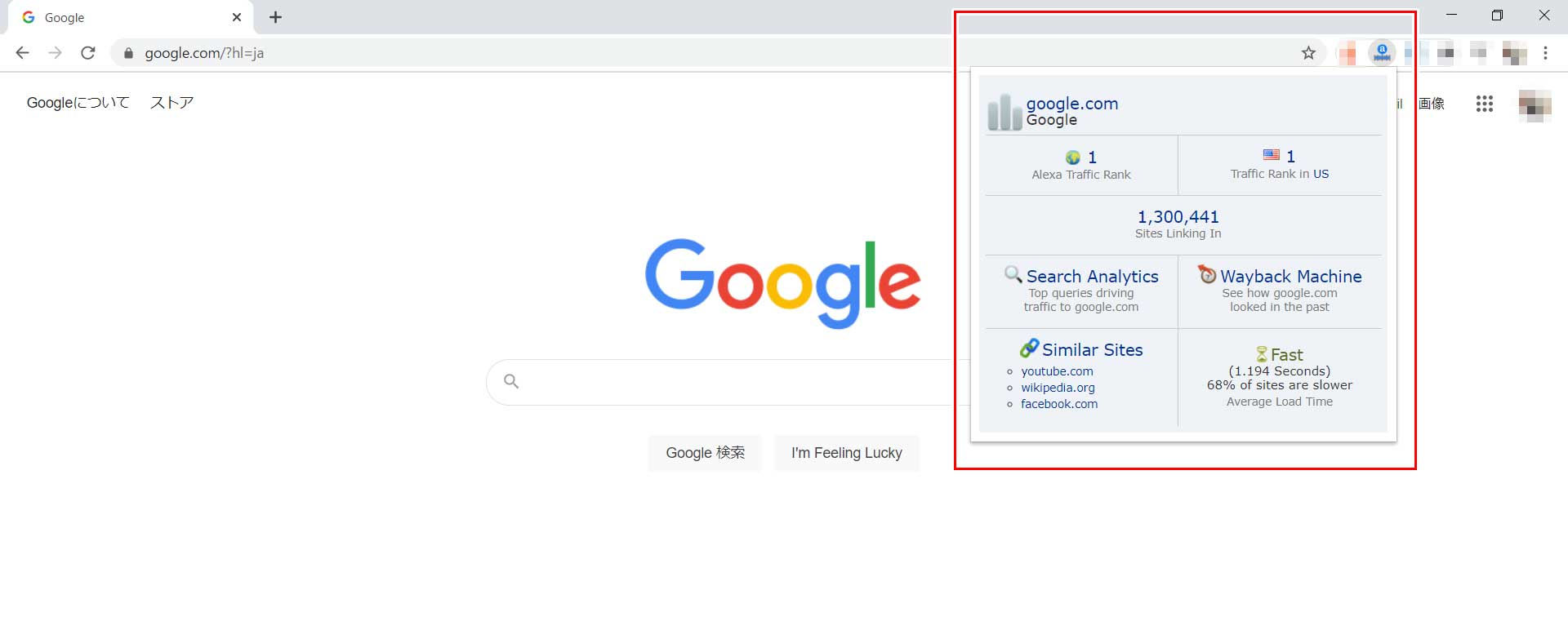 GoogleのAlexaランクはウェブ全体でも日本でも1番だった