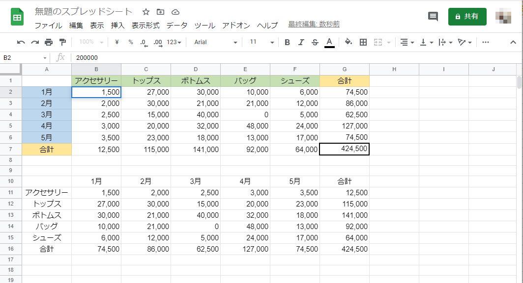 TRANSPOSE関数で行列入れ替えの表がコピーされる