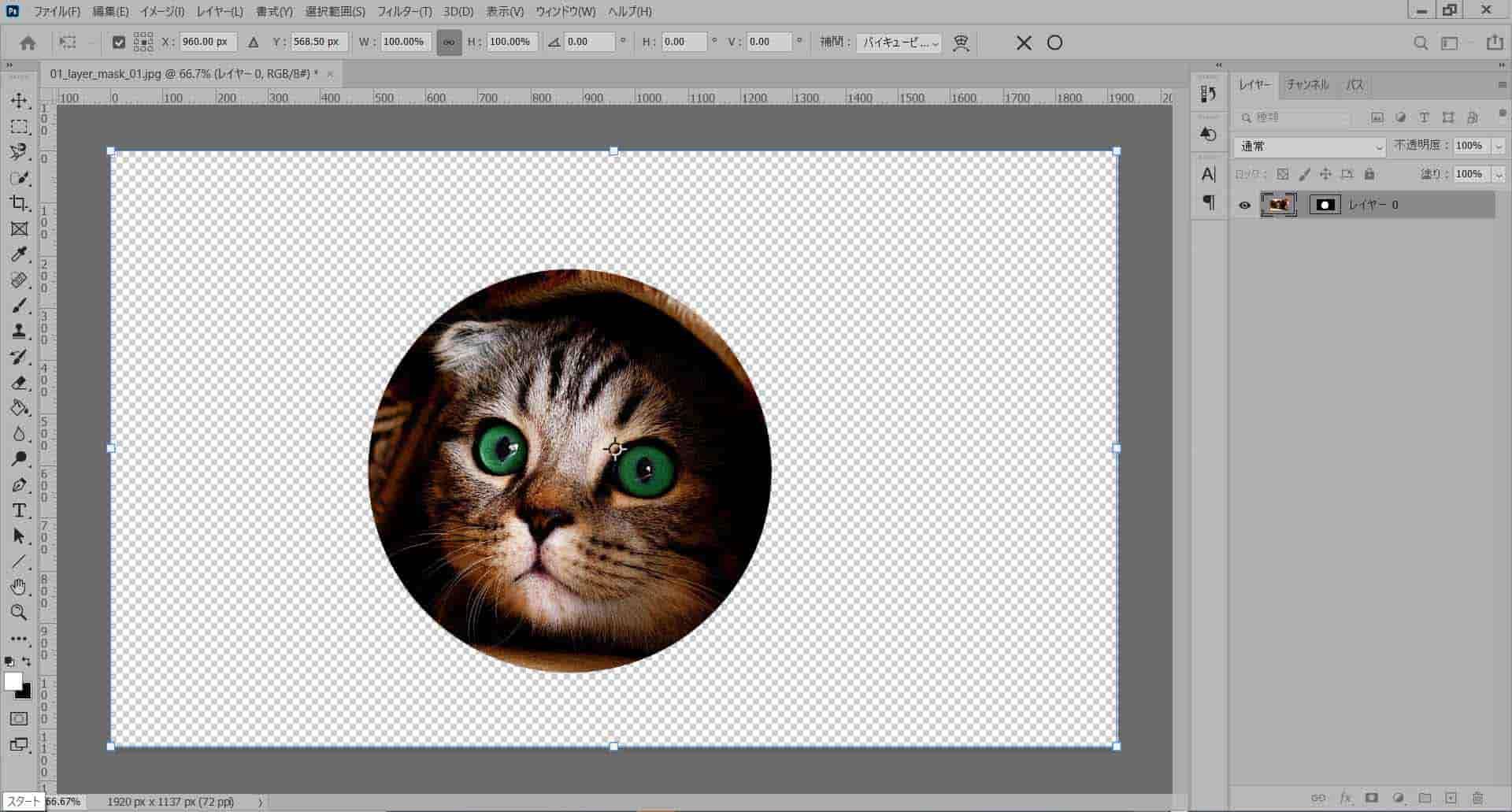 レイヤーマスクと元画像レイヤーの固定を解除して元画像を拡大・縮小する