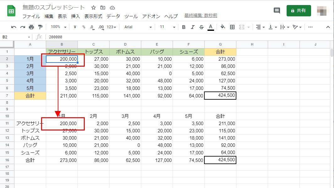 TRANSPOSEなら元表のデータの変更が即時反映される