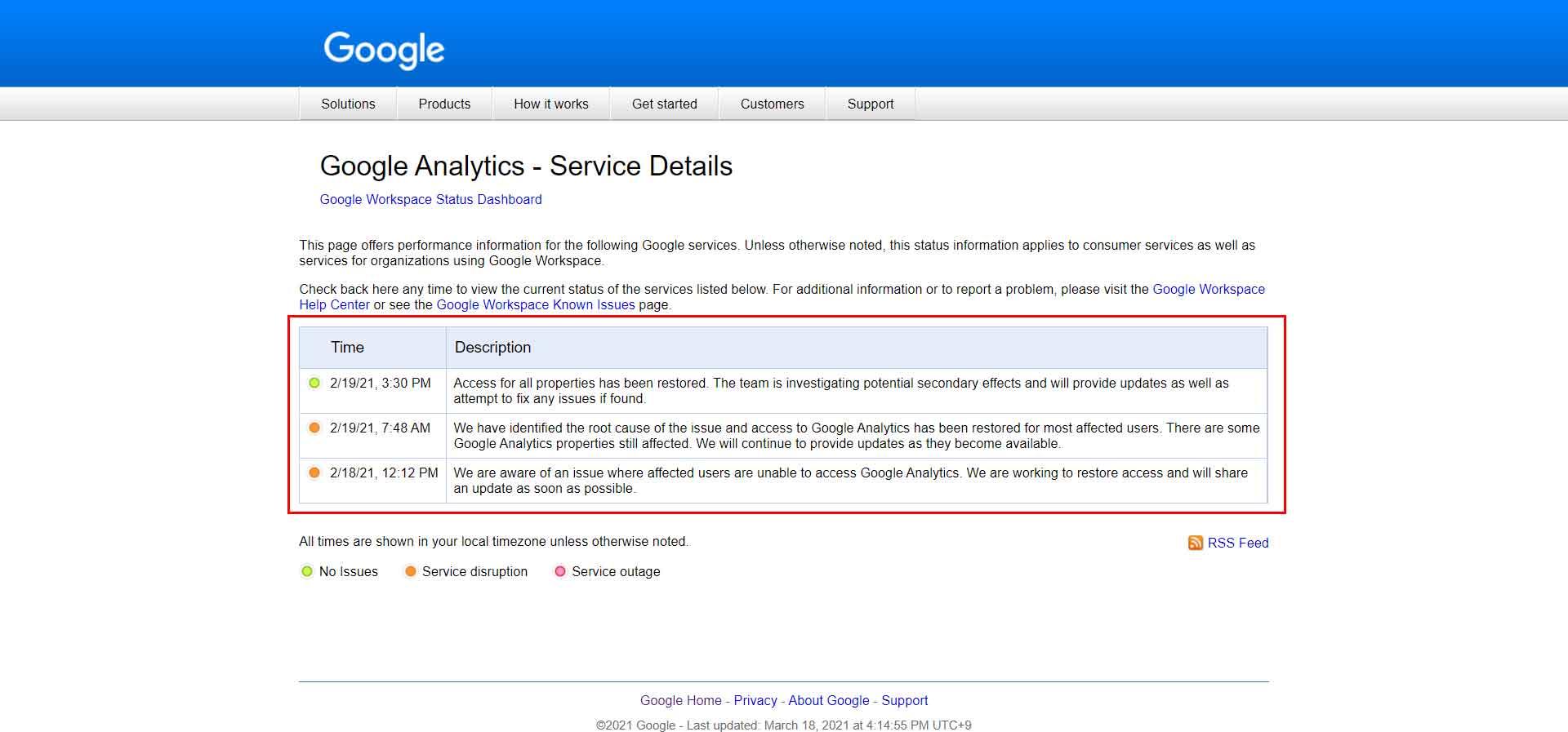 Googleサービスの障害情報と復旧状況を示す英語ページ
