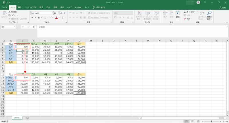 データの編集は元の表で行う